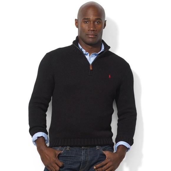 POLO RALPH LAUREN Half Zip Sweater Black Size L
